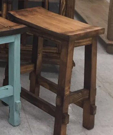 Peachy Rustic Antique Brown Saddle Stool 24H Pacific Imports Inc Theyellowbook Wood Chair Design Ideas Theyellowbookinfo