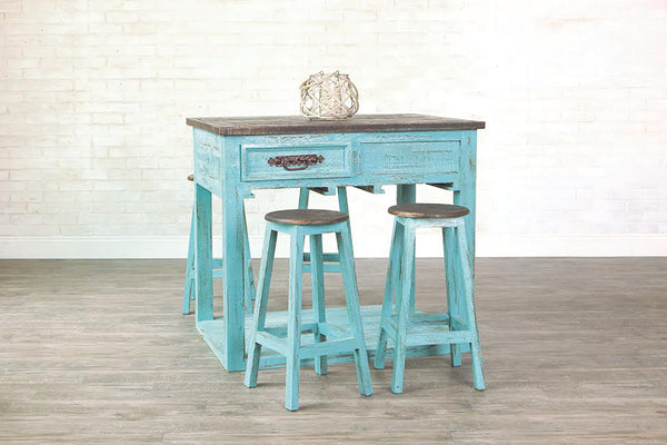 Rustic Kitchen Island with four (4) Stools