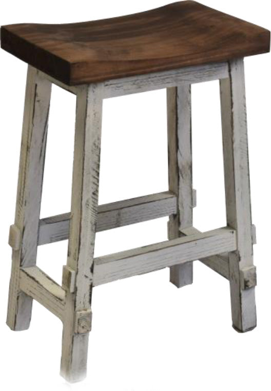 Pleasing Rustic Antique White Saddle Stool 24H Pacific Imports Inc Theyellowbook Wood Chair Design Ideas Theyellowbookinfo