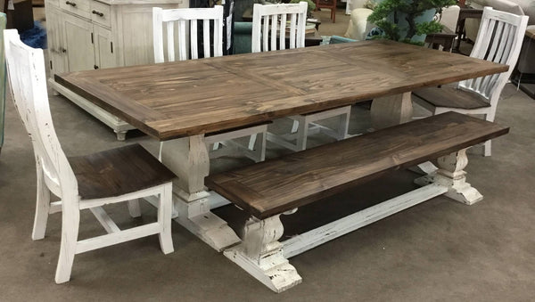 Rustic Antique White Dining Table with Bench