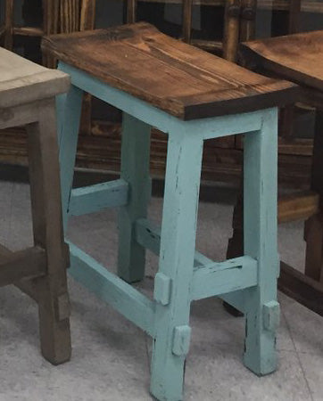 Fantastic Rustic Turquoise Saddle Stool 24H Pacific Imports Inc Theyellowbook Wood Chair Design Ideas Theyellowbookinfo