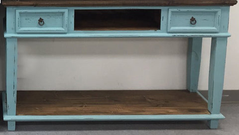 Rustic Turquoise T.V. Stand/Sofa Table