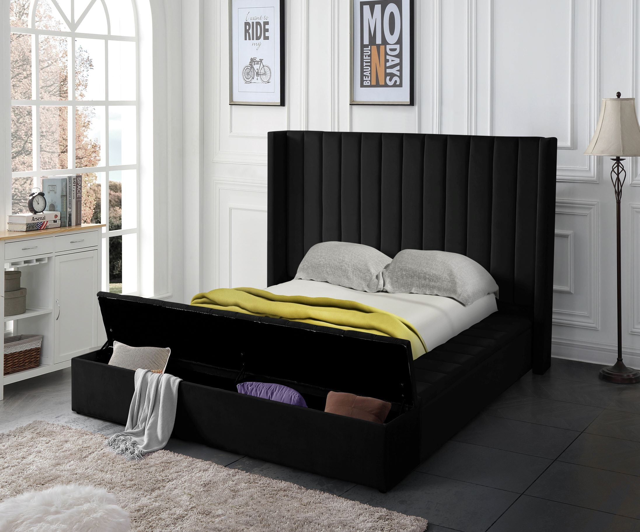 Black Upholstered Bed W Storage Pacific Imports Inc