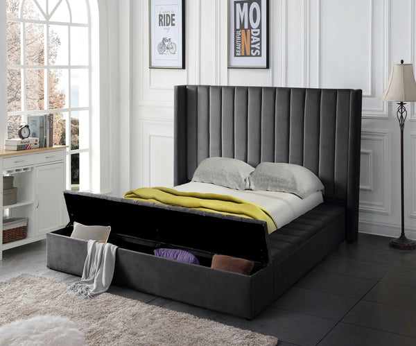 Gray Upholstered Bed w/Storage