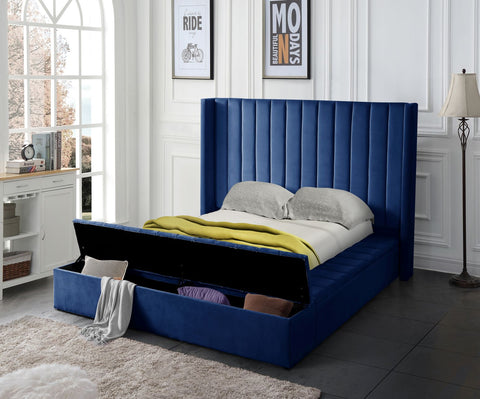 Navy Blue Upholstered Bed w/Storage