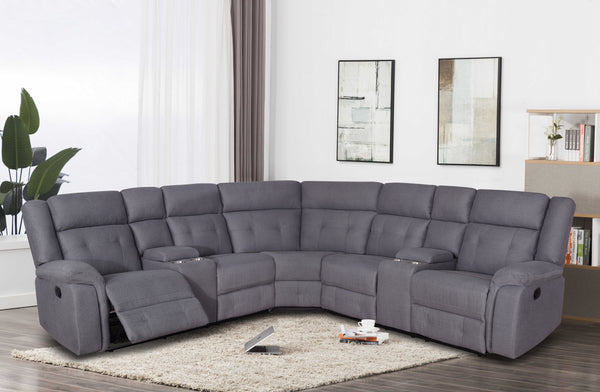Dark Gray Fabric Sectional Group w/2 Console & 2 Recliner