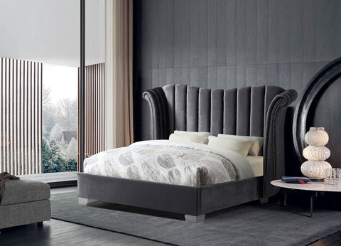 Gray Upholstered Bed