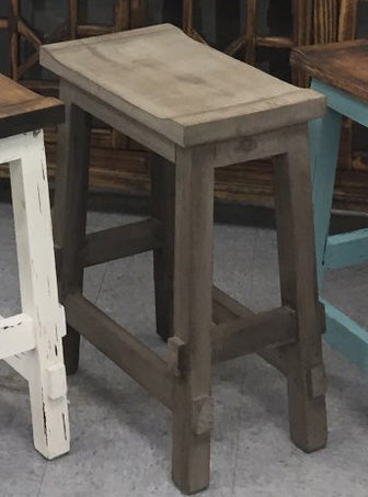 "Rustic Rough Barnwood Saddle Stool; 24""H"
