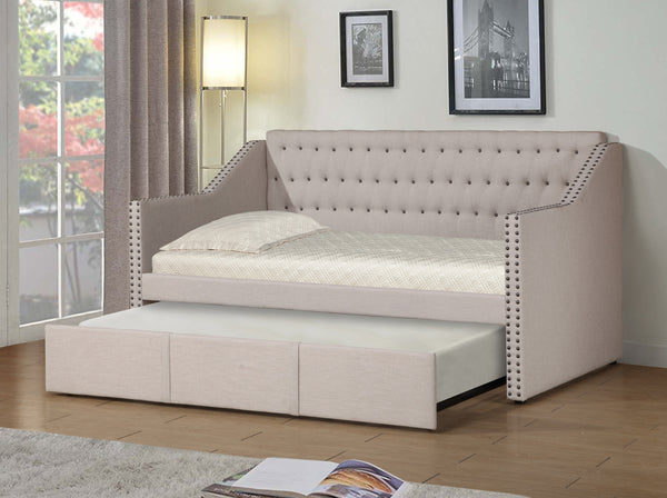 Day Bed w/Trundle; Beige