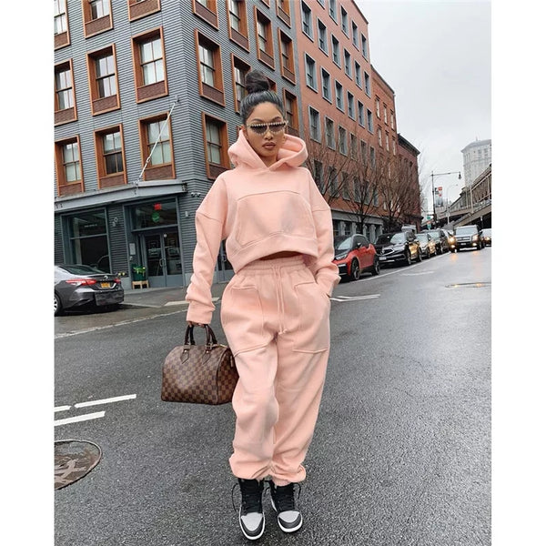 Plus Size and Women Two Piece Sweat Pants and Hoodie Tracksuit