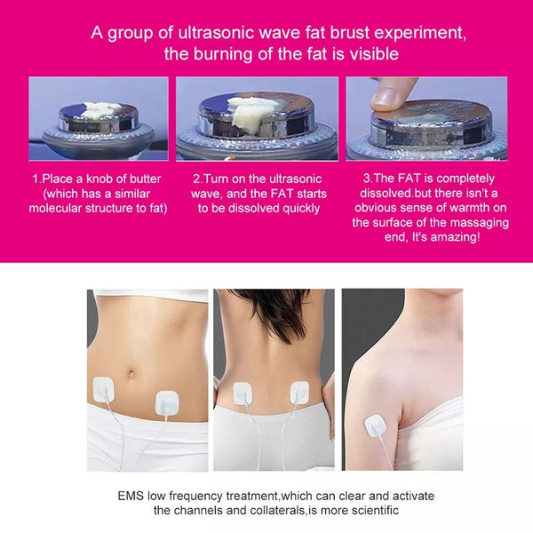 Ultrasound Cavitation EMS Fat Burner Body Slimming Massager Weight Loss Machine with Patch Lipo Anti Cellulite Galvanic Infrared