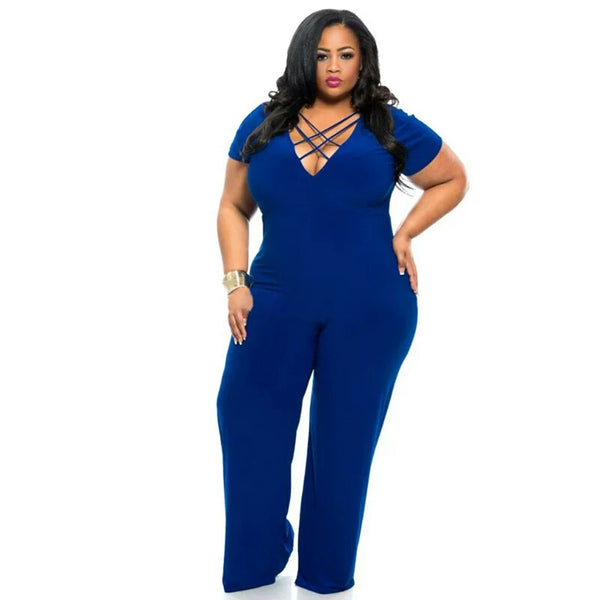 Deep V neck Jumpsuit  Playsuit Party Clubwear  Plus Size and Women Black and Blue Romper