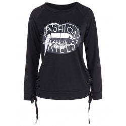 Fashion Kills Lace-Up Lip Print Pullover Sweatshirt