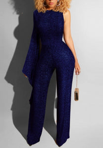 Formal Women Fashion Flare Sleeve Single Shoulder Bodycon Jumpsuit