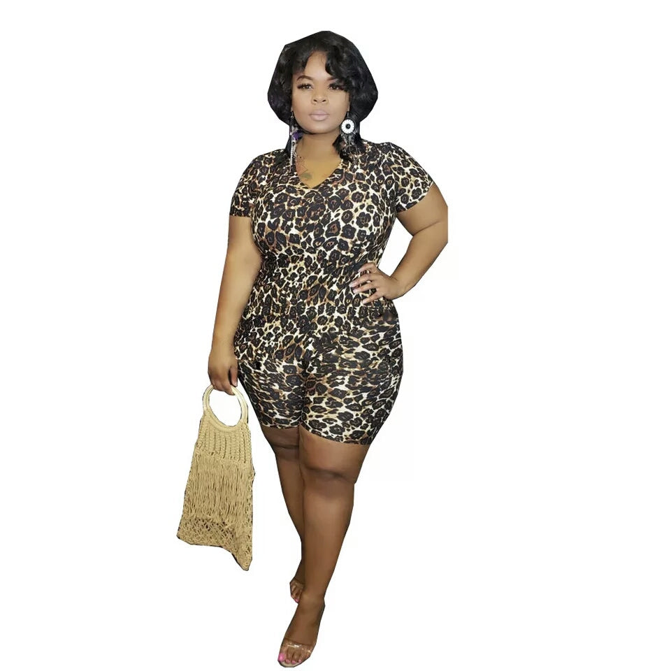 Plus Leopard Printed Two Piece Top And Shorts