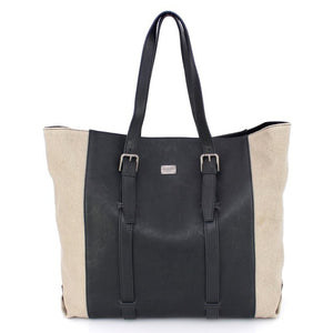 Dolce & Gabbana Beige Linen Black Leather Bag