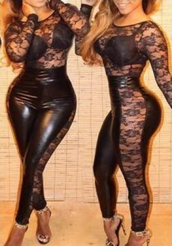 Lace Paneled Bodycon Party Jumpsuit