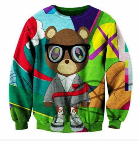 Men Cartoon Mr Bear Pullover