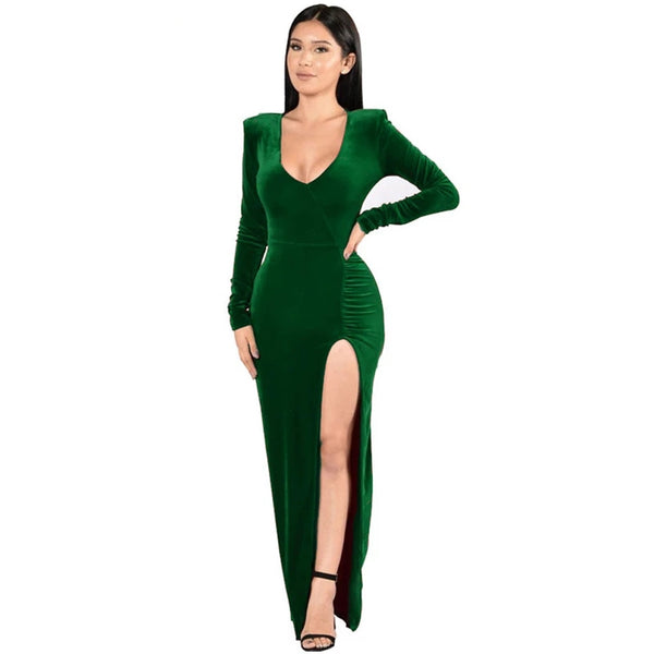 Sexy Deep V Neck Long Sleeve High Slit Bodycon Maxi Dress
