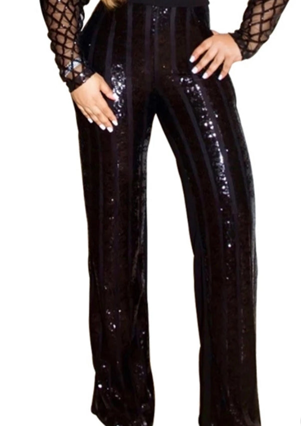 High Waist Flare Sequin Pants