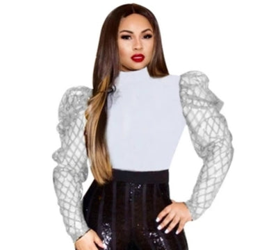 Mesh Puff Turneck Blouse