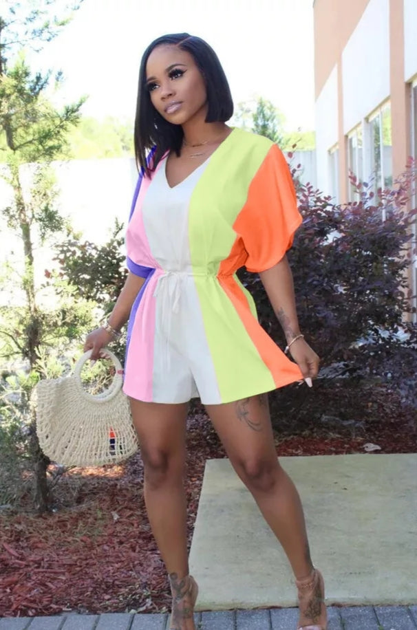 Rainbow Color Short Romper
