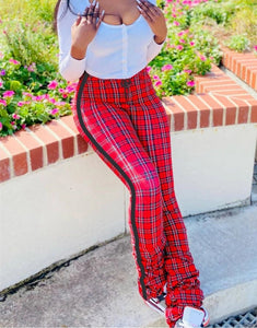 Plaid Print Stacked High Waist Pants