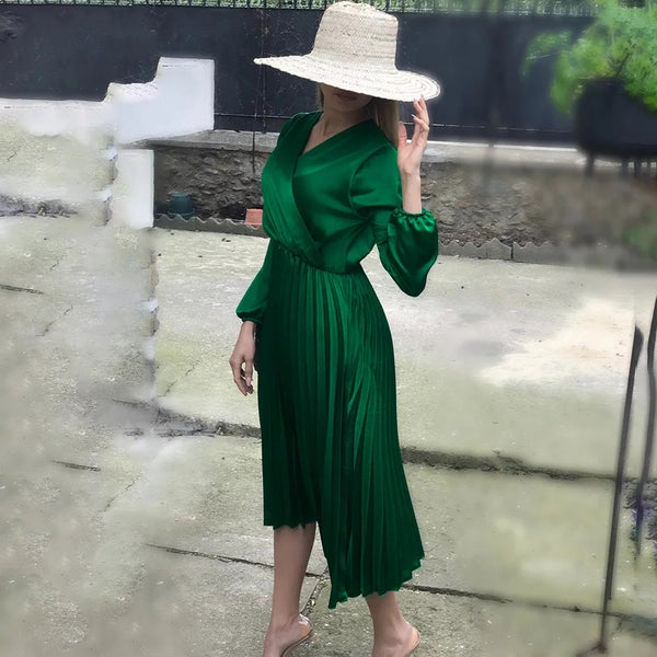 V-neck Long Sleeve Satin Elegant Dress