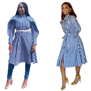 Elegant Stripe Robe Shirt Dress