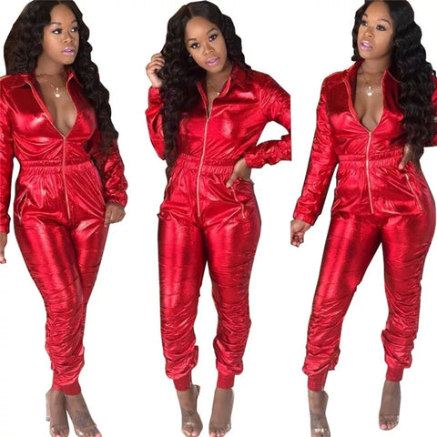 Front Zipper Turn Down Collar Crunch Casual Jumpsuit