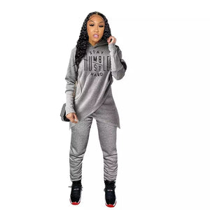 Winter Letter Print Tracksuit 2 Piece Set