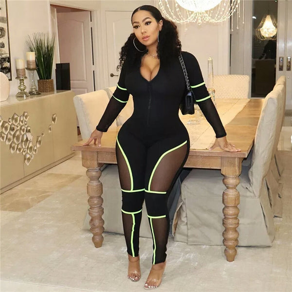 Zipper Front V Neck Long Sleeve Sexy Tracksuit