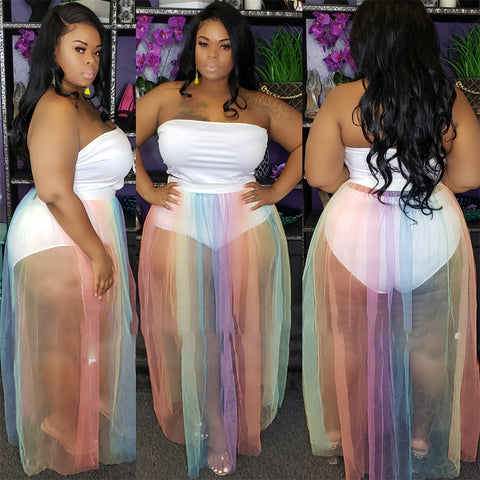 Plus Size Two Piece Skirt Set