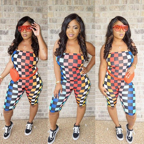 Rainbow Checkerboard Print Sexy Jumpsuit