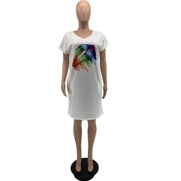 Rainbow Lips T Shirt Dress