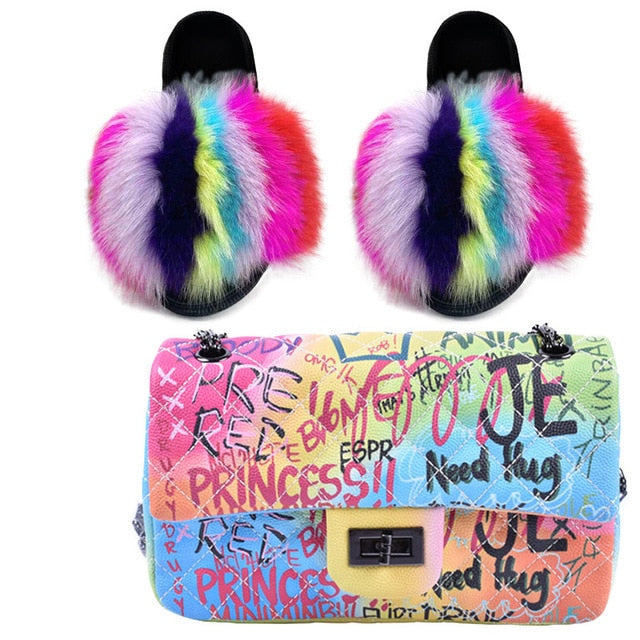 Colorful Ethel Fur Slippers w Handbag