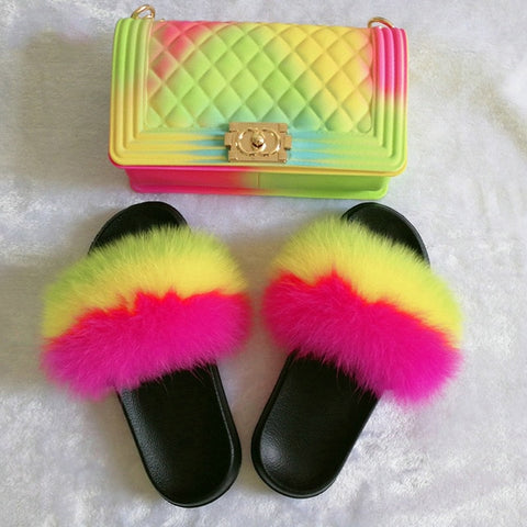 Ethel Fur Slippers Set Bag& Shoes