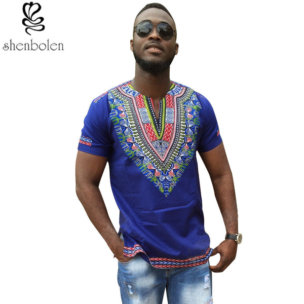 Dashiki knitting stitching Batik short sleeve tops