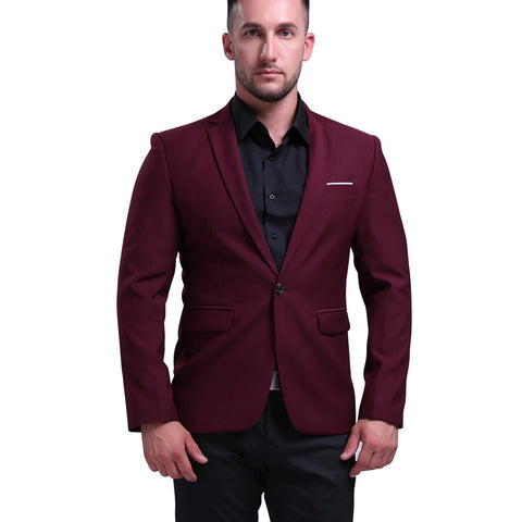 Mens Slim Fit Wine Red Blazers Suit Jacket