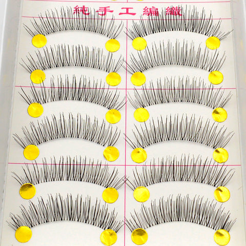 10 Pairs Makeup Handmade Natural False Eyelashes Soft Eye Lash Cosmetic