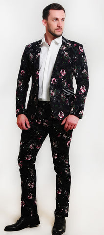 Two Piece Men Floral Print Suit