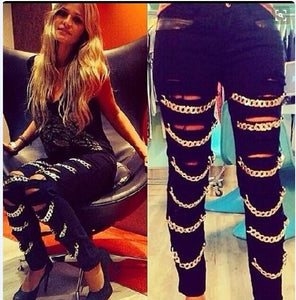 Womens Low Waist Punk Sexy Ripped With Chains Pencil  Skinny Jeans