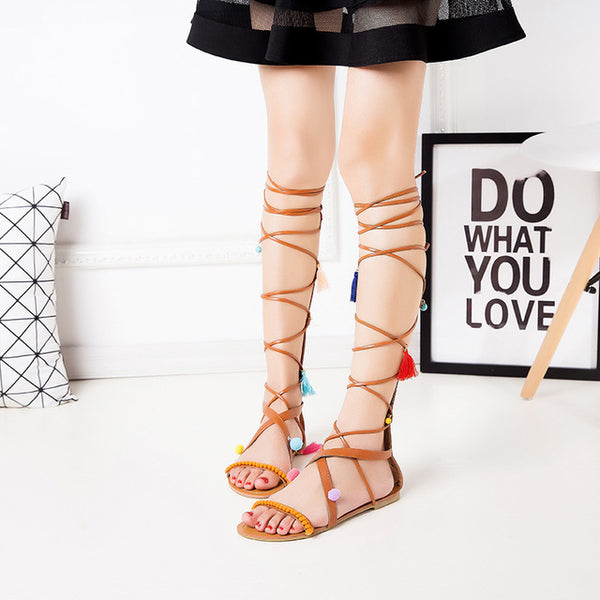 Knee High Gladiator Tie String Boot Sandals