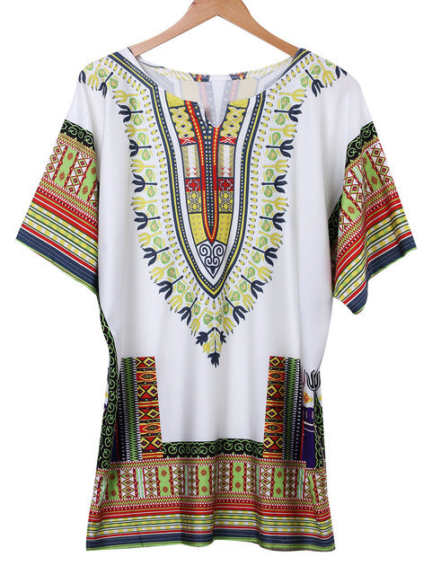 Dashiki Kaftan Boho Hippie Gypsy Shirt Dress