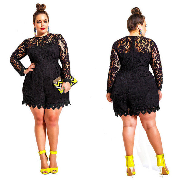 Sexy Clubwear Long Sleeve Lace Rompers Plus Size Jumpsuit