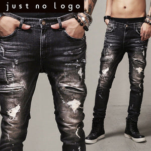 Designer Fashion Zipper Hiphop Motorcycle Denim Jeans