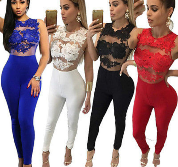 Lace Romper Trousers Bandage Bodycon Jumpsuit