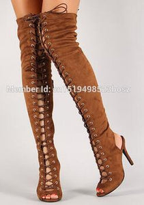 Thigh High Sexy Gladiator over the knee heels boots