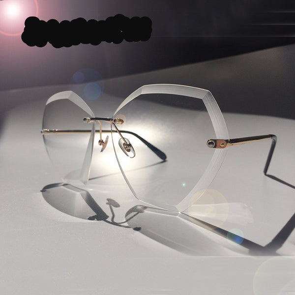 Vintage Rimless Clear Oversized Sunglasses
