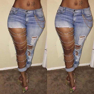 Sexy Women Destroyed Boyfriend Ripped Distressed Denim Jeans